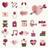 Febbraio Valentine Icon Set Vector felice Immagini Stock Libere da Diritti