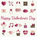 Febbraio Valentine Icon Set Vector felice Immagine Stock Libera da Diritti