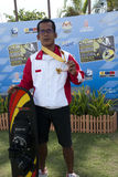 Febiandi Andri Muhamad mit seiner Medaille Lizenzfreies Stockfoto