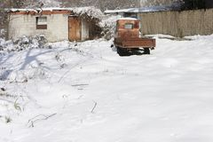 old rusted truck in the snow Stock Images