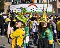 A febre do futebol do copo de mundo prende Sandton Fotografia de Stock