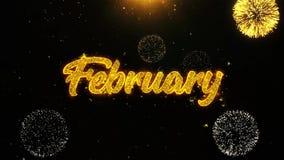 Febrero desea la tarjeta de felicitaciones, invitación, fuego artificial de la celebración colocado