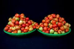 22, febrero El tomate 2017 de Dalat- da fruto en la cesta plástica verde, fondo negro Fotos de archivo libres de regalías