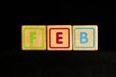 Februar auf hölzernem Kubik auf schwarzem Hintergrund Lizenzfreie Stockfotos