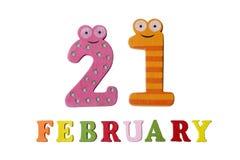 21. Februar auf weißem Hintergrund, Zahlen und Buchstaben Lizenzfreies Stockfoto