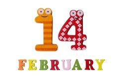 14. Februar auf weißem Hintergrund, Zahlen und Buchstaben Stockbilder
