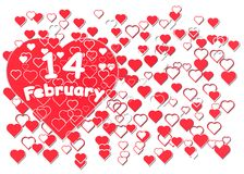 14. Februar Aufschrift auf dem Herzen lizenzfreies stockfoto