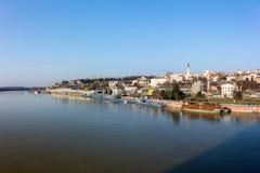 26. Februar 2017 - Belgrad, Serbien - Ansicht nach Belgrad von Branko-` s Brücke über dem Fluss Sava Stockbilder