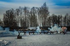 26. Februar 2017 der Feiertag von Maslenitsa in Borodino Stockbild