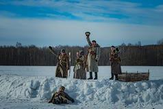 26. Februar 2017 der Feiertag von Maslenitsa in Borodino Lizenzfreie Stockfotografie