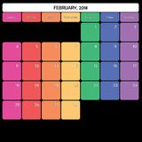 Februar 2018 des großen spezifische Wochentage Anmerkungsraumes des Planers Farb Lizenzfreie Stockfotos