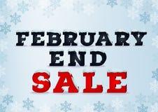 Februar-Endenverkaufsaufschrift-Designschablone in der Art 3d auf blauem Hintergrund mit Schneeflocken Stockfotografie