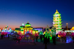 Februar 2013 - Harbin, China - internationales Eis und Schnee-Festival Lizenzfreie Stockfotografie