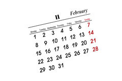 Februar-Kalender Stockfoto