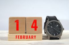 14. Februar Kalender auf Holzklötzen Lizenzfreie Stockbilder