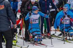 11. Februar 2017 Skirennen-Nikolov Perevoz Russialoppet des Kunst--Veretevozustandes jährlicher Skimarathon 2017 Paralympic-Renne Lizenzfreies Stockbild