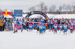 11. Februar 2017 Skirennen-Nikolov Perevoz Russialoppet des Kunst--Veretevozustandes jährlicher Skimarathon 2017 Paralympic-Renne Stockfoto