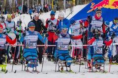 11. Februar 2017 Skirennen-Nikolov Perevoz Russialoppet des Kunst--Veretevozustandes jährlicher Skimarathon 2017 Paralympic-Renne Stockbild