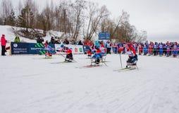 11. Februar 2017 Skirennen-Nikolov Perevoz Russialoppet des Kunst--Veretevozustandes jährlicher Skimarathon 2017 Paralympic-Renne Stockbilder