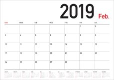 Februar 2019 Tischkalender-Vektorillustration stock abbildung