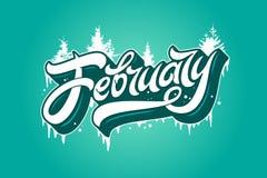 Februar-Typografie mit Fichte und Eiszapfen auf Türkishintergrund Verwendet für Fahnen, Kalender, Poster, Ikonen, Aufkleber Moder stock abbildung
