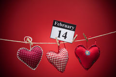 14. Februar Valentinstag, rotes Herz Lizenzfreies Stockbild