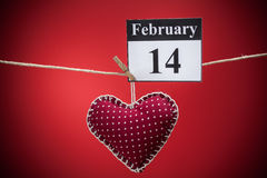 14. Februar Valentinstag, rotes Herz Lizenzfreie Stockfotos