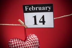 14. Februar Valentinstag, rotes Herz Stockbilder