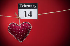 14. Februar Valentinstag, rotes Herz Stockfotografie