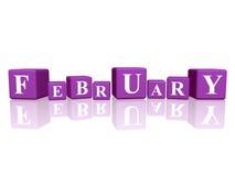 Februari in 3d kubussen Royalty-vrije Stock Fotografie