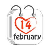 14 Februari calendar symbolen valentin för dag s Plan stil målat Royaltyfri Bild