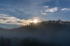 18, Februari 2017 Dalat--Mist over de Pijnboom Forest On Sunrise Background en beautyful wolk in Dalat- Lamdong, Vietnam Stock Foto's