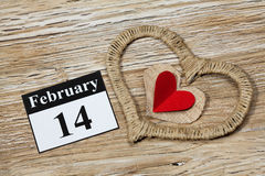 14 februari, de dag van Valentine, hart van rood document Royalty-vrije Stock Afbeeldingen