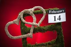 14 februari, de dag van Valentine, rood hart Royalty-vrije Stock Foto's
