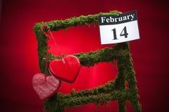 14 februari, de dag van Valentine, rood hart Stock Foto's