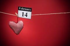14 februari, de dag van Valentine, rood hart Royalty-vrije Stock Afbeelding