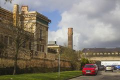 21 Februari 2018 de ruïnes van het historische Crumlin-Road gerechtsgebouw in Belfast Noord-Ierland dat door brand werd beschadig Royalty-vrije Stock Afbeeldingen