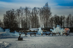 26 Februari 2017 de Vakantie van Maslenitsa in Borodino Stock Afbeelding