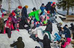 26 Februari 2017 de Vakantie van Maslenitsa in Borodino Royalty-vrije Stock Foto