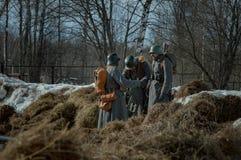 26 Februari 2017 de Vakantie van Maslenitsa in Borodino Stock Foto's