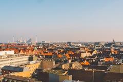 18 februari, 2019 Denemarken Kopenhagen Panoramische hoogste mening van het stadscentrum van een hoog punt Ronde Rundetaarn-Toren royalty-vrije stock foto