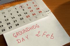Februari för Groundhog dag kalender, Notepad med datumet 2 Februari Royaltyfri Foto