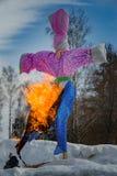 26 Februari 2017 ferien av Maslenitsa i Borodino Arkivbilder