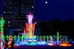 Februari 2013 - Harbin, China - het Festival van de Ijslantaarn Stock Afbeelding