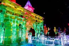 Februari 2013 - Harbin, China - het Festival van de Ijslantaarn Stock Afbeeldingen