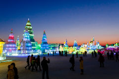 Februari 2013 - Harbin, China - Internationaal Ijs en Sneeuwfestival Stock Foto's