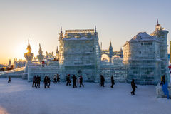 Februari 2013 - Harbin, Kina - internationell is och snöfestival Royaltyfri Bild