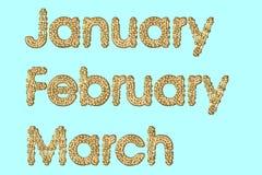 februari januari marsch royaltyfri illustrationer