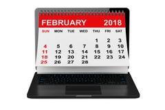 Februari 2018 kalender över bärbar datorskärmen framförande 3d vektor illustrationer