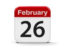 26 Februari-kalender vector illustratie